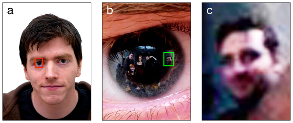 """Zooming in on the subject's eye reveals hidden bystanders"""