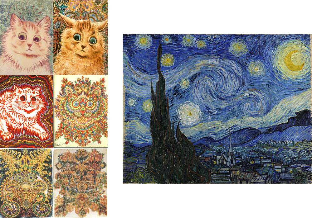 Cats by Louis Wain (left) Vincent van Gogh, The Starry Night (right)