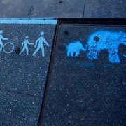 Elephant stencil, Redfern, adding to existing Shared Path stencils.